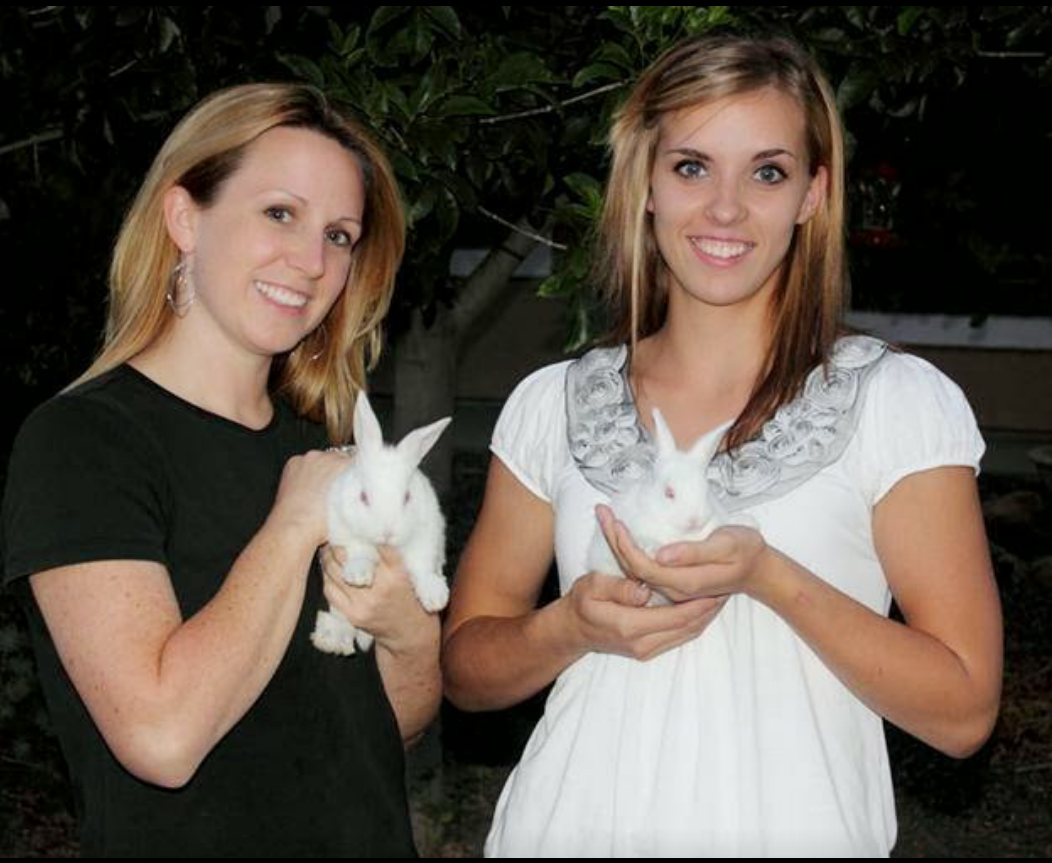 Homestead girls with rabbits